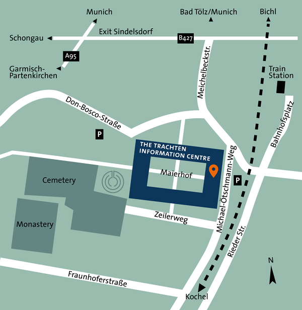 Site map of The Trachten Infomation Centre in Benediktbeuern