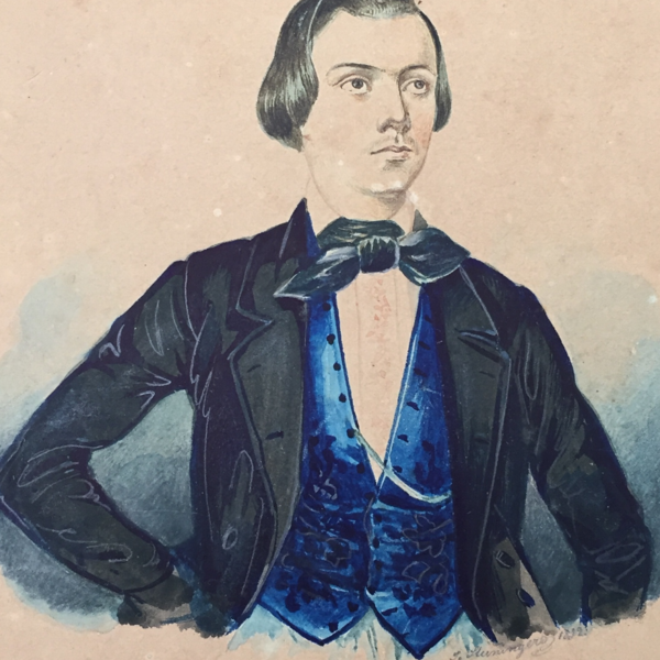 The gouache drawing from 1840/45 shows the young tailor Lukas Danner dressed in a black jacket and blue waistcoat.