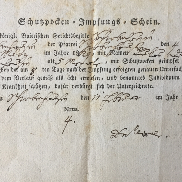 Detail of Lukas Danner's smallpox vaccination certificate, dated 1829.