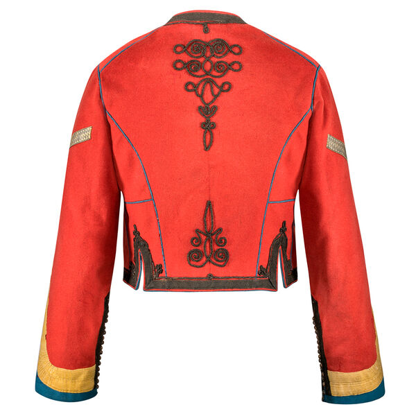 Back view of a red men's jacket, decorated with passementerie. It origins from the Ottoman Empire of the second half of the 19th century.