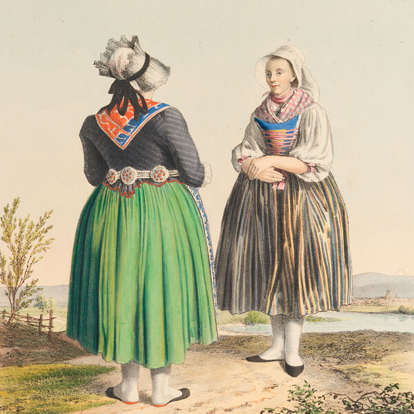 This colour lithograph from about 1825 shows two women from Gotteszell (region of Bavarian Forest), dressed in colourful costumes and bonnets, standing somewhat offset against each other on a sandy field path. The young peasant woman can be seen from the front, on the left side at the front the bride's godmother can be seen from behind. They are surrounded by a summery river landscape.